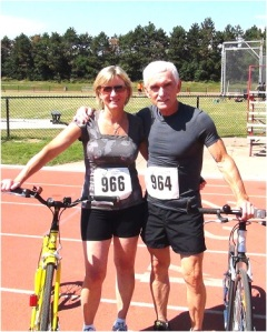 Rodger & Dianna at the inaugural Canadian Footbike Championships, Aug 2013